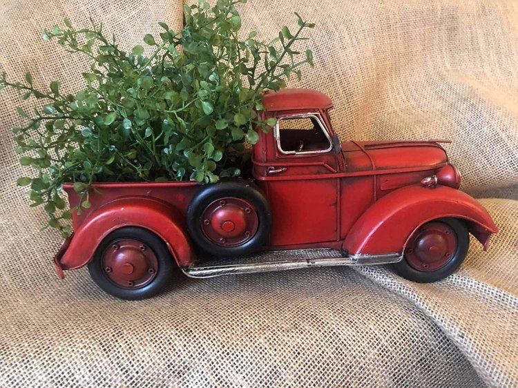 Amazon Com Lil Red Pickup Metal Truck Spring Foliage Tabletop Arrangement Retro Farmhouse Chic Rustic Decor Vintage Look Style Toy 13 X 6 Handmade