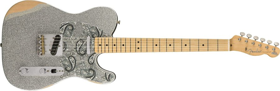 Fender Brad Paisley Road Worn Telecaster Electric Guitar - Maple Fingerboard - Silver Sparkle