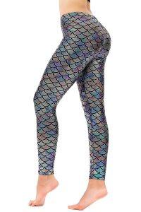 Diamond keep it Women's Mermaid Fish Scale Printing Full Length Leggings (Large, Black Silver)