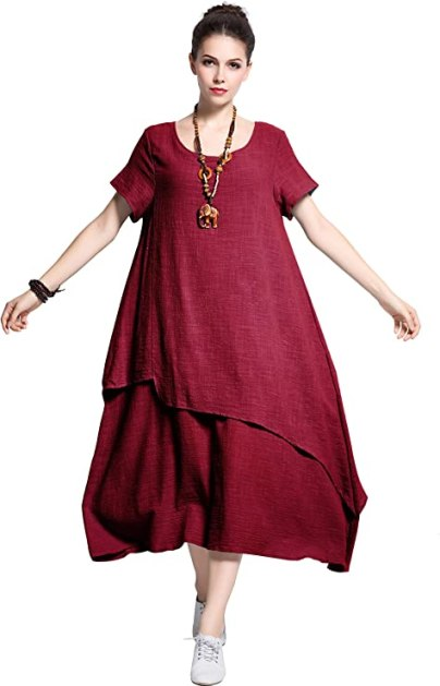 Anysize Retro Soft Linen Cotton Dress Spring Summer Plus Size Clothing Y112