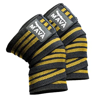Mava Sports Knee Wraps (Pair) for Cross Training WODs,Gym Workout,Weightlifting,Fitness & Powerlifting - Knee Straps for Squats - for Men & Women- 72