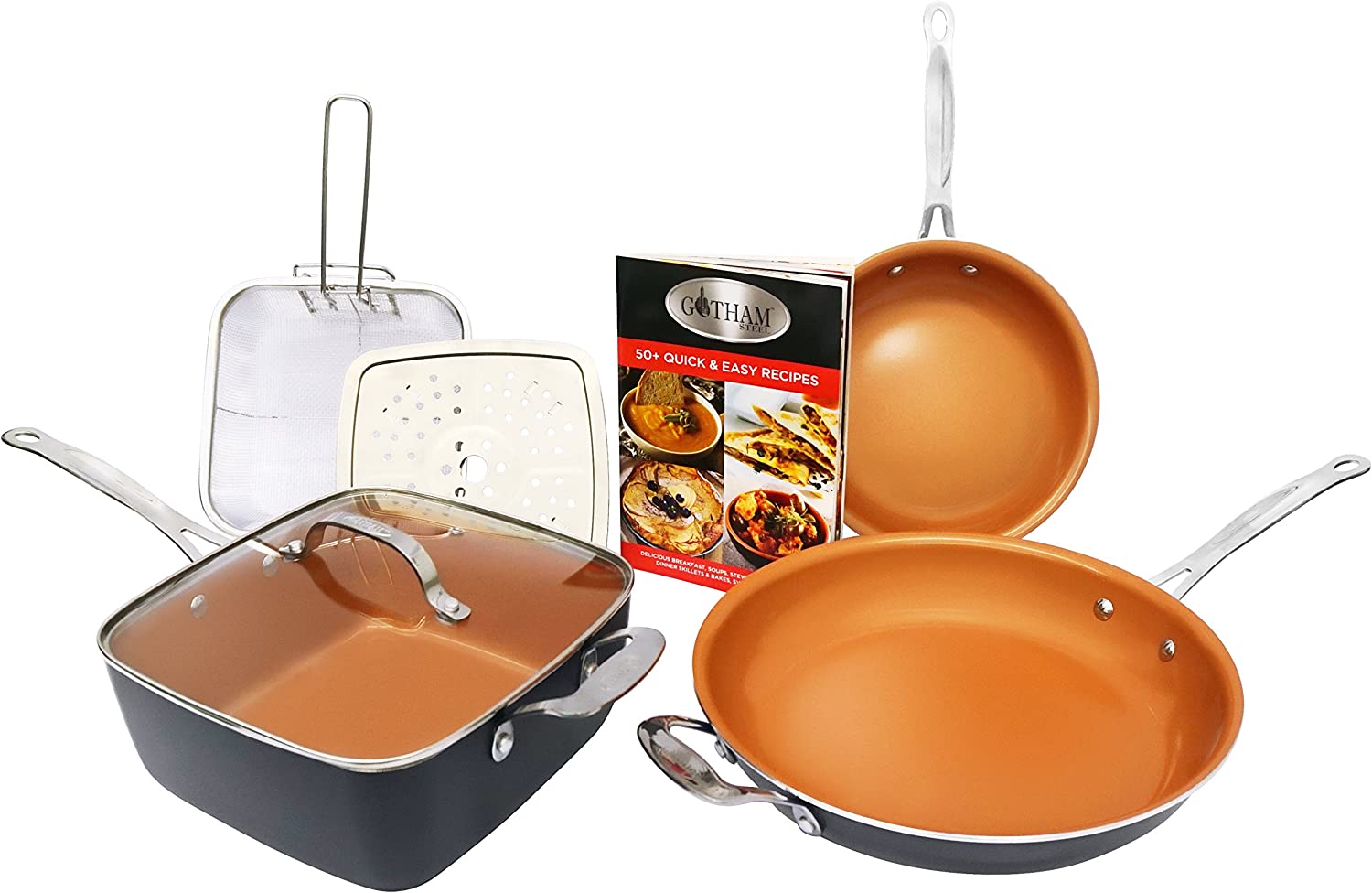 Gotham Steel 1371 Tastic Bundle 7 Piece Cookware Set Titanium Ceramic Pan, Copper