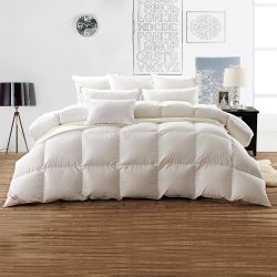 SNOWMAN WHITE GOOSE DOWN COMFORTER FULL/QUEEN SIZE 100% COTTON SHELL DOWN PROOF-SOLID WHITE HYPOALLERGENIC