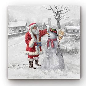 Renditions Gallery Joyful Santa and Snowman Gallery Wrapped Canvas Christmas Wall Art, 32x32