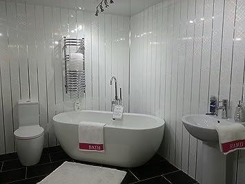 10 White Sparkle Chrome Strip Diamond Effect Pvc Bathroom Cladding Shower Wall Panels Amazon Co Uk Diy Tools