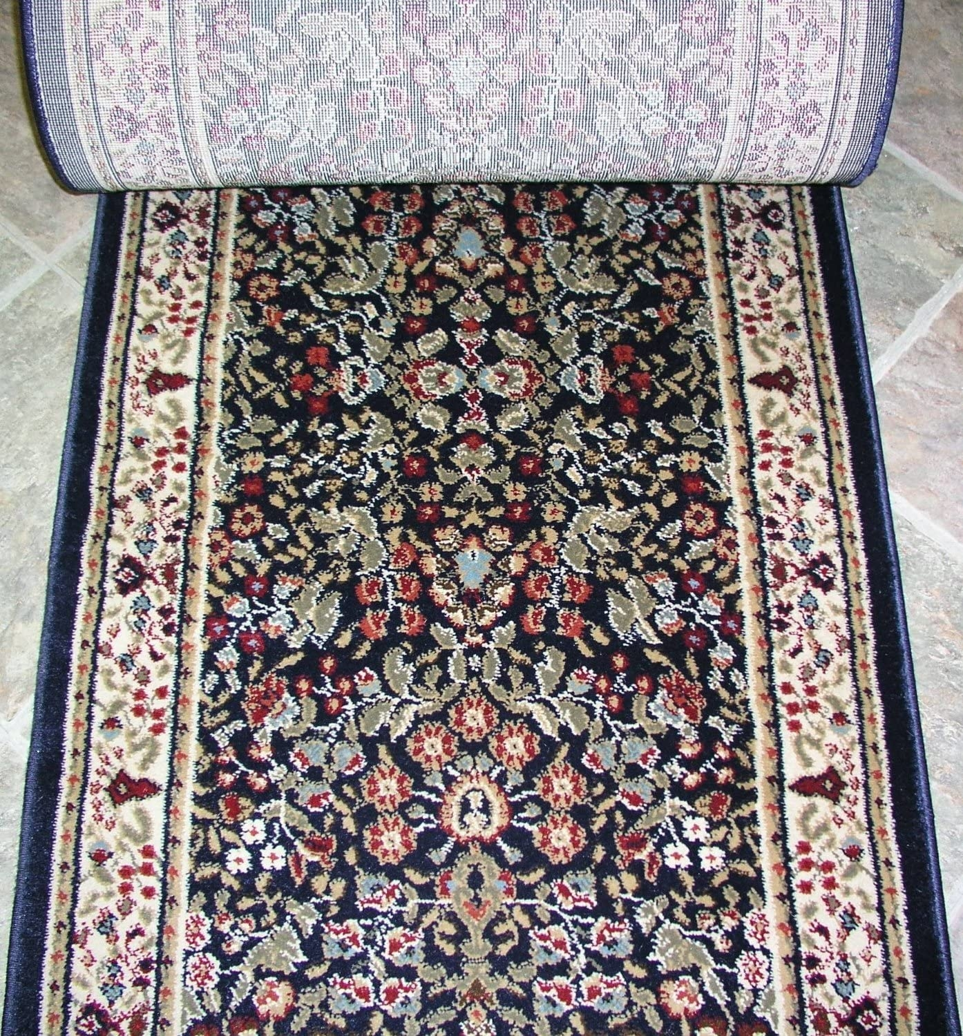 Amazon Com Rug Depot 785796 Traditional Sold By The Foot Stair   Traditional Stair Carpet Runners   Bespoke   Patterned   Modern   Stair Landing   Dark Stain