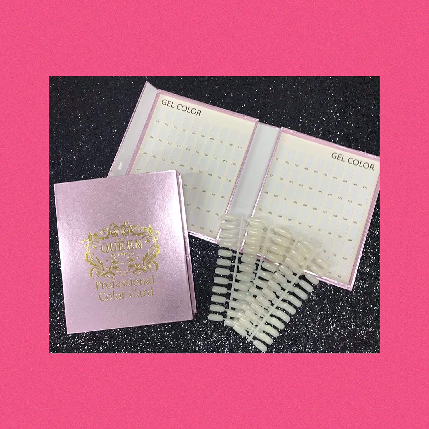120 Sparkle Pink Nail Tip Colour Chart Display Book With 120 Tips For Uv Led Gel Polish Amazon Co Uk Beauty