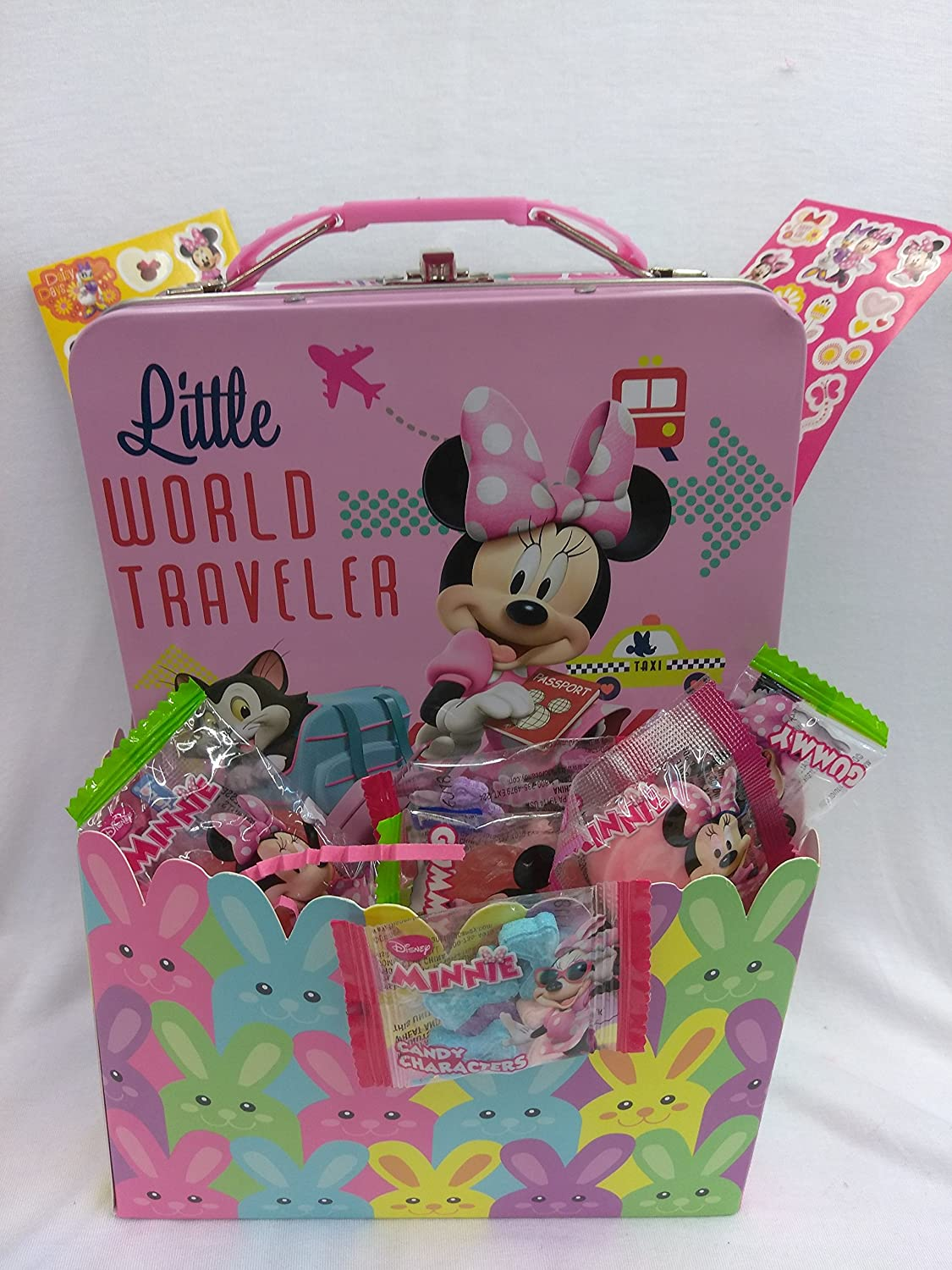 Happy Minnie Mouse Bowtique Collectors Box Fun Easter Basket Kids Toddlers Gift Children Pre Made Girls Eggs Goodies Candy Plush Lunch TIN