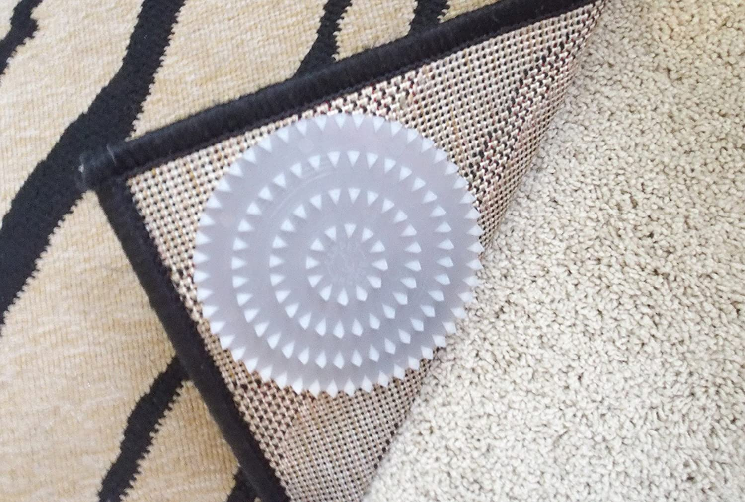 Non Slip Rug Pads For Rugs On Carpet 8 Pack Designed For Rug On Carpet Anti Slip Limits Medium Large Rugs Exercise Door Mats From Moving On Carpet Includes 8 Spiked Plastic Adhesive Rug Pads