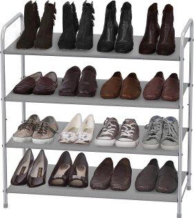 Use shoe racks for garage shoe organization