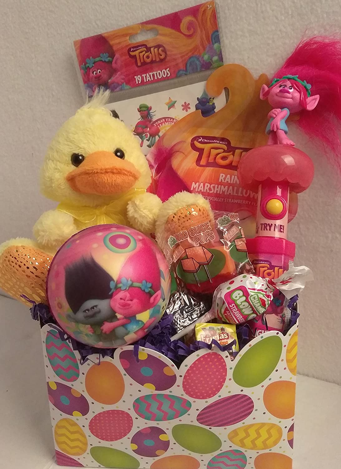 Happy Girls Figure Easter Basket Kids Toddlers Gift Children Pre Made Eggs Goodies Candy Plush Trolls