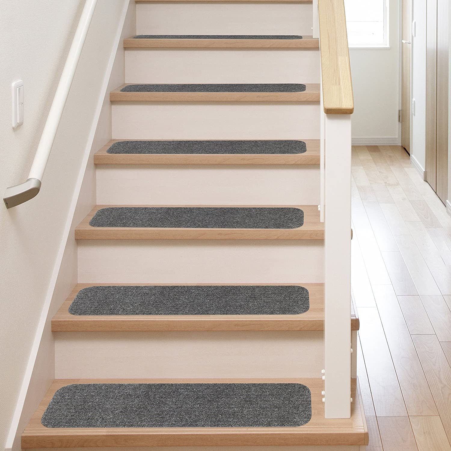 13 Stair Treads Non Slip Carpet Pads Easy Tape Installation   Converting Carpeted Stairs To Hardwood   Stair Case   Treads   Staircase Makeover   Stain   Wood Flooring