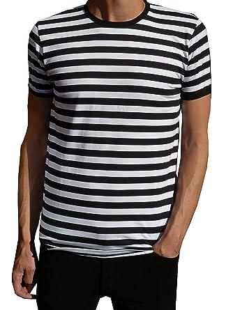 Mens Nautical Black And White Striped T Shirt Mod Tee