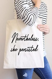 Nevertheless She Persisted Large Canvas Tote Bag