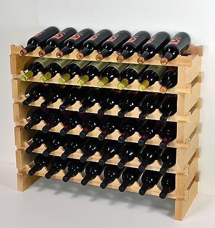 Amazon Com Wine Rack Wood 48 Bottles Modular Hardwood Wine Racks 8 Bottles X 6 Shelves Kitchen Dining