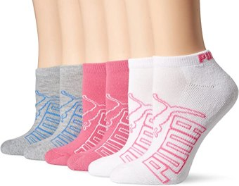 Puma Women's Low Cut Athletic Sock with Arch Support 6-Pack, Grey/Blue, 9-11