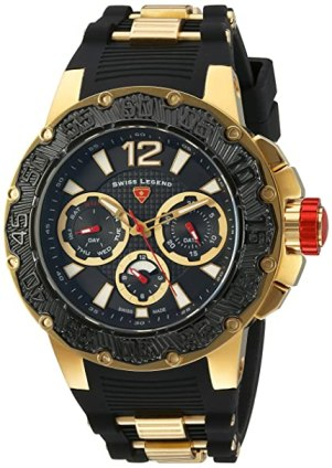 Swiss Legend Men's 'Ultrasonic' Quartz Stainless Steel and Silicone Automatic Watch, Color:Black (Model: 14096SM-YG-01-BB)