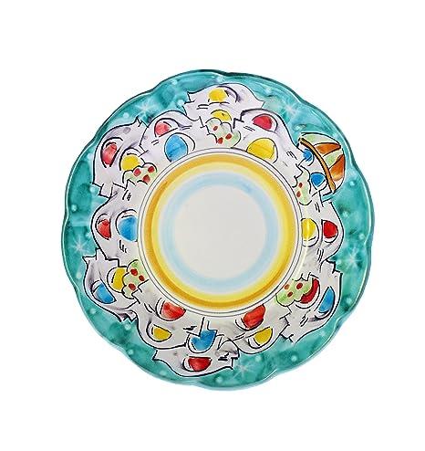 La Vietrese Piatto Piano In Ceramica Decoro Casette Di