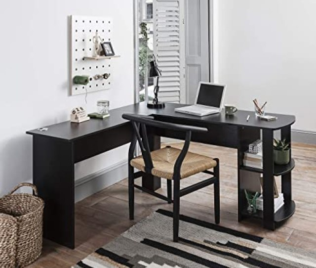 Laura James Black Corner Desk Computer Desk Home Office Desk Amazon Co Uk Kitchen Home