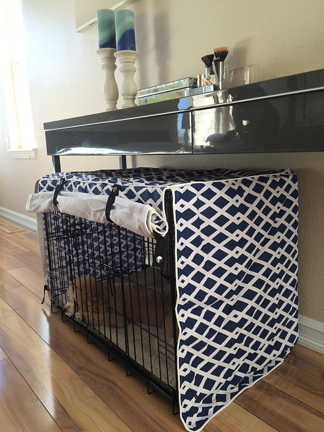 Modern Blue Marine Dog Pet Wire Kennel Crate Cage House Cover (Small, Medium, Large, XL, XXL)