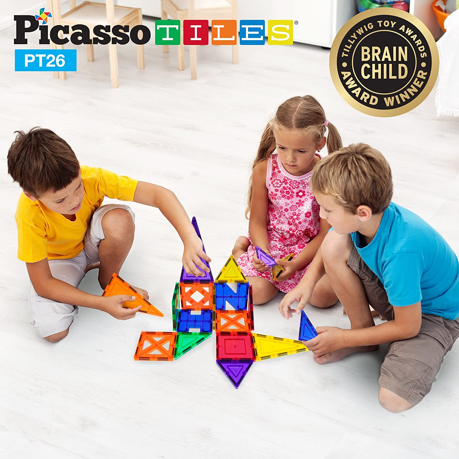 PicassoTiles 26 Piece Building Blocks 26pcs Inspirational Kit 3D Building Construction Toys Clear Magnetic Stacking Set STEM Playboards Magnet Felt Tiles Novelty Games, Creativity Beyond Imagination