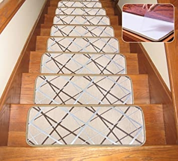 Seloom Washable Non Slip Stair Treads Carpet With Skid Resistant   Soloom Carpet Stair Treads   Blended Jacquard   Amazon   Beige   Mat   Flooring