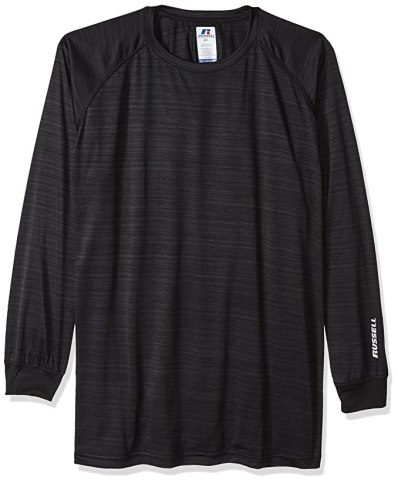 Russell Athletic Men's Big and Tall Ls Dri-Power Pieced Under Arm W/Lc r, Black, 2X