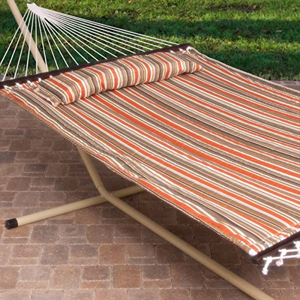 Island Bay 2 Person Free Standing Hammock, 13 Ft. Sienna Stripe Quilted Hammock with Steel Stand & Pillow
