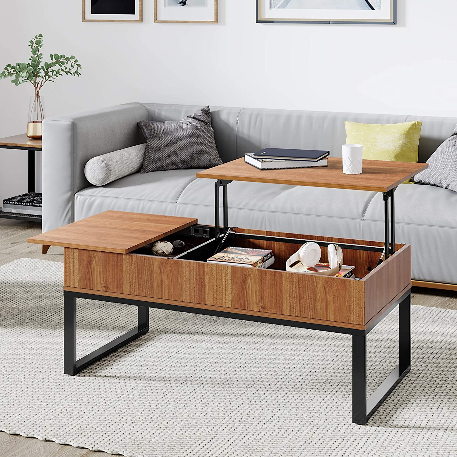 Amazon Com Wlive Wood Lift Top Coffee Table With Hidden Storage Compartment Side Drawer And Metal Frame Lift Tabletop Dining Table For Home Living Room Office Kitchen Dining