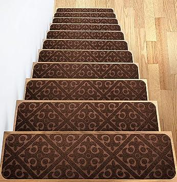 Carpet Stair Treads Set Of 13 Non Slip Skid Rubber Runner Mats Or Rug Tread Indoor
