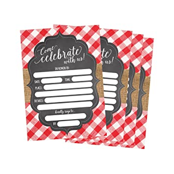 50 Red And White Summer Bbq Party Invitations For Children Kids Teens S