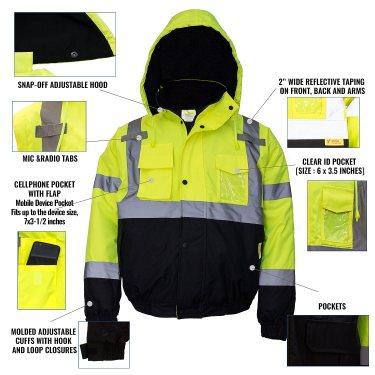New York Hi-Viz Workwear WJ9012-XL Men's ANSI Class 3 High Visibility Bomber Safety Jacket, Waterproof