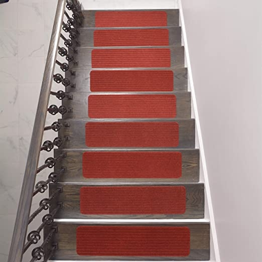 Amazon Com Stair Treads Collection Indoor Skid Slip Resistant | 30 Inch Carpet Stair Treads | Sided Tape | Bullnose Wraparound | Machine Washable | Greek Key | Non Skid