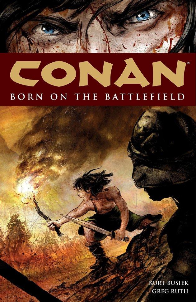Capa do encadernado importado de Conan: Nascido no Campo de Batalha, um dos marcos do personagem na Dark Horse. Arte de Greg Ruth.