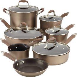 Anolon Advanced Hard Anodized Nonstick Cookware Pots and Pans Set, 12 Piece, Bronze