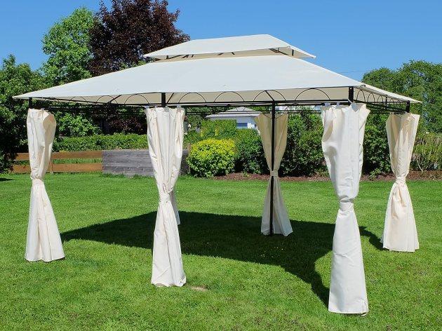 Eleganter Gartenpavillon Pavillon 3x4 Meter, Dach 100% wasserdicht UV30+, mit 6 Vorhängen Modell: 7075-A von AS-S von ASS
