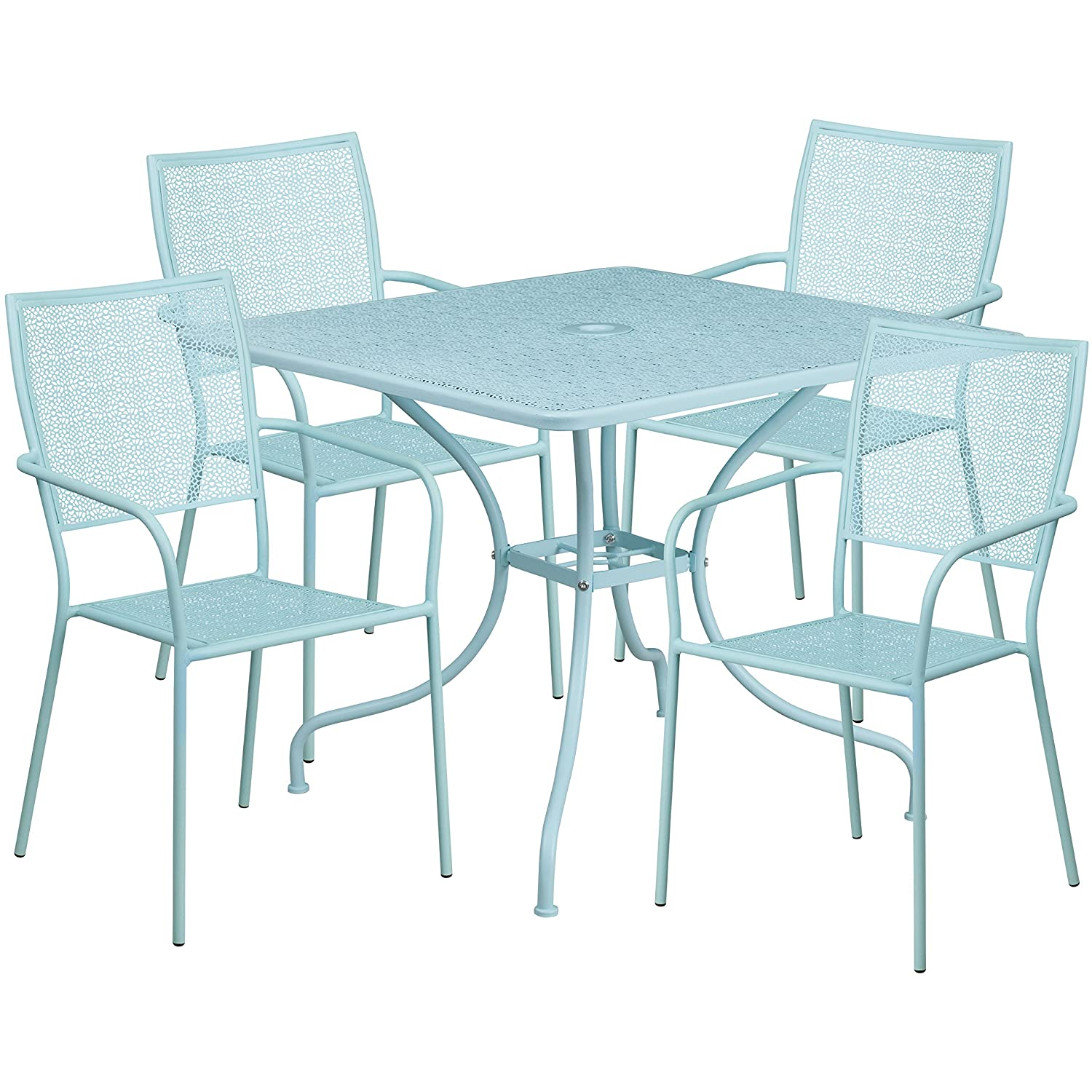 Flash Furniture 35 5 Square Black Indoor Outdoor Steel Patio Table Set With 4 Square Back Chairs Kitchen Dining Dprd Tasikmalayakab Go Id