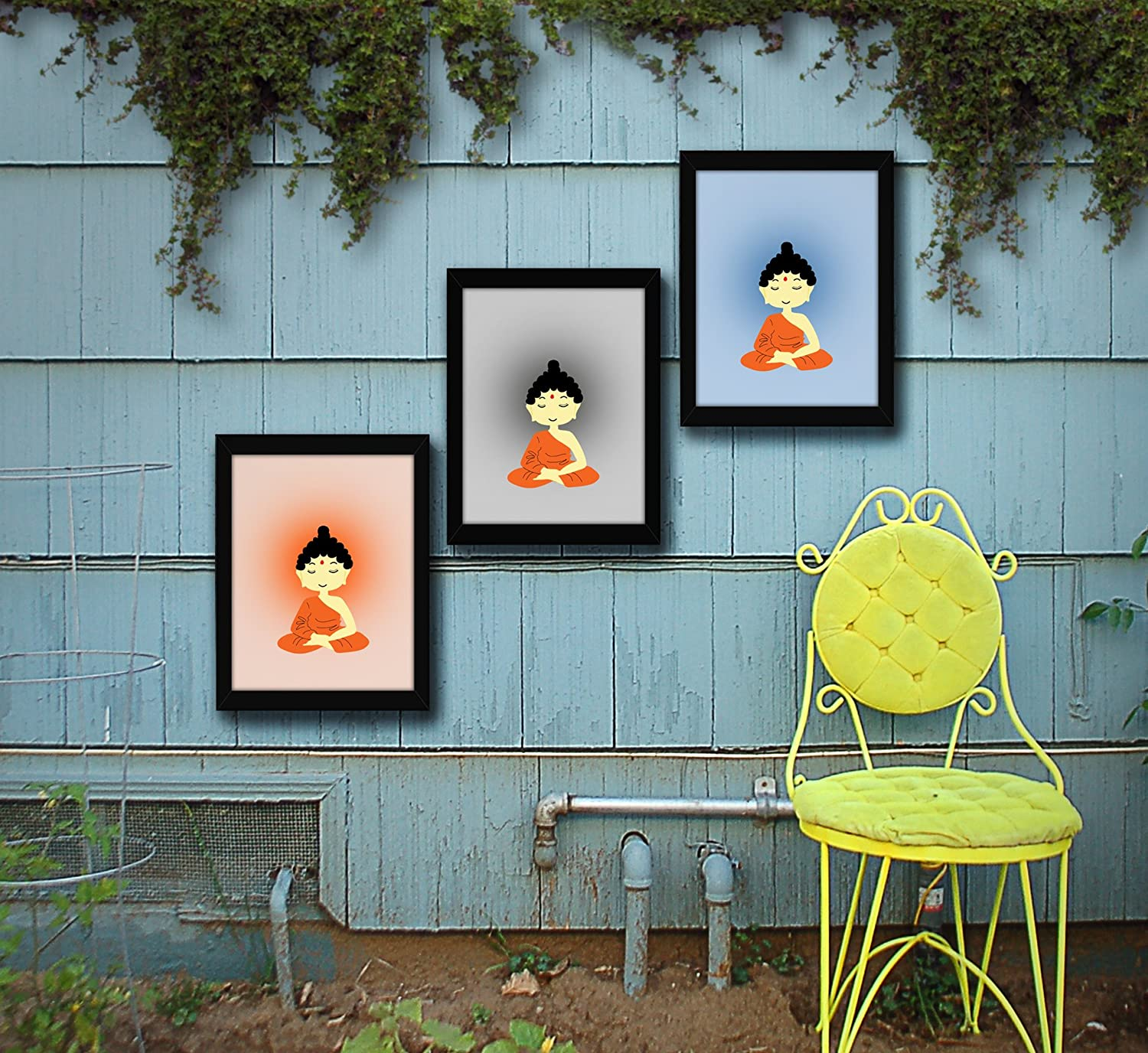 Tied Ribbons Meditating Buddha Wall Art Outdoor Wall Decor Garden Decor Item Wall Hanging Poster Set Of 3 13 6 Inch X 10 2 Inch Amazon In Home Kitchen