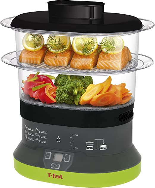 T-fal VC1338 Balanced Living Compact 2-Tier Electric Food Steamer, 4-Quart, Black