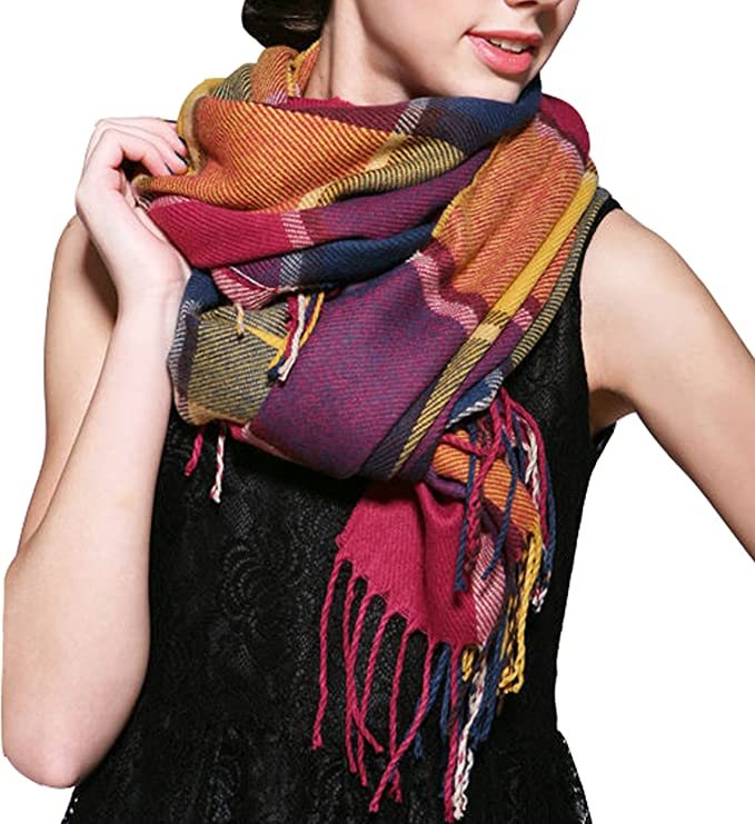 Wander Agio Womens Scarves Warm Long Gird Shawl Wraps Wool Spinning Large Scarf Colours