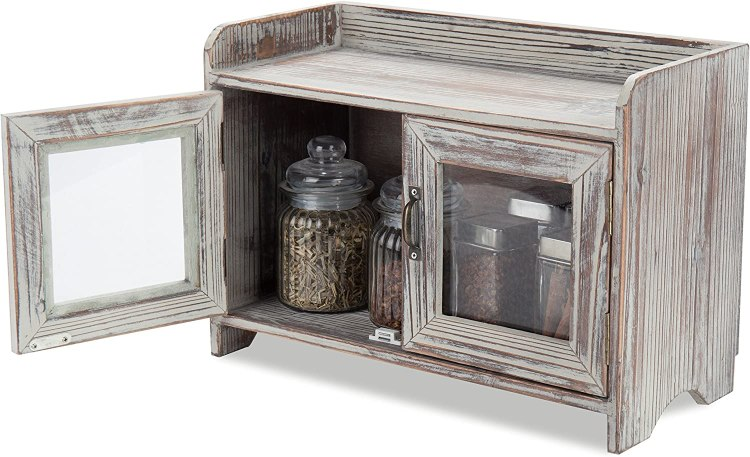 Amazon Com Mygift Rustic Wood Kitchen Bathroom Countertop Cabinet W Glass Windows Kitchen Dining