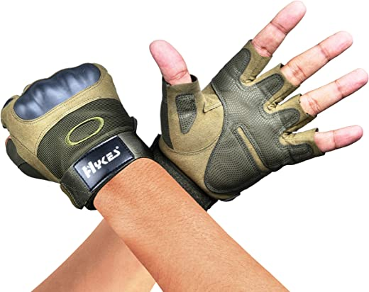 Hykes Tactical Gloves for Workout Bike Driving Cycling Motorcycle Military Safety Sports Hiking Climbing Outdoor Gym Fitness Hand Grip
