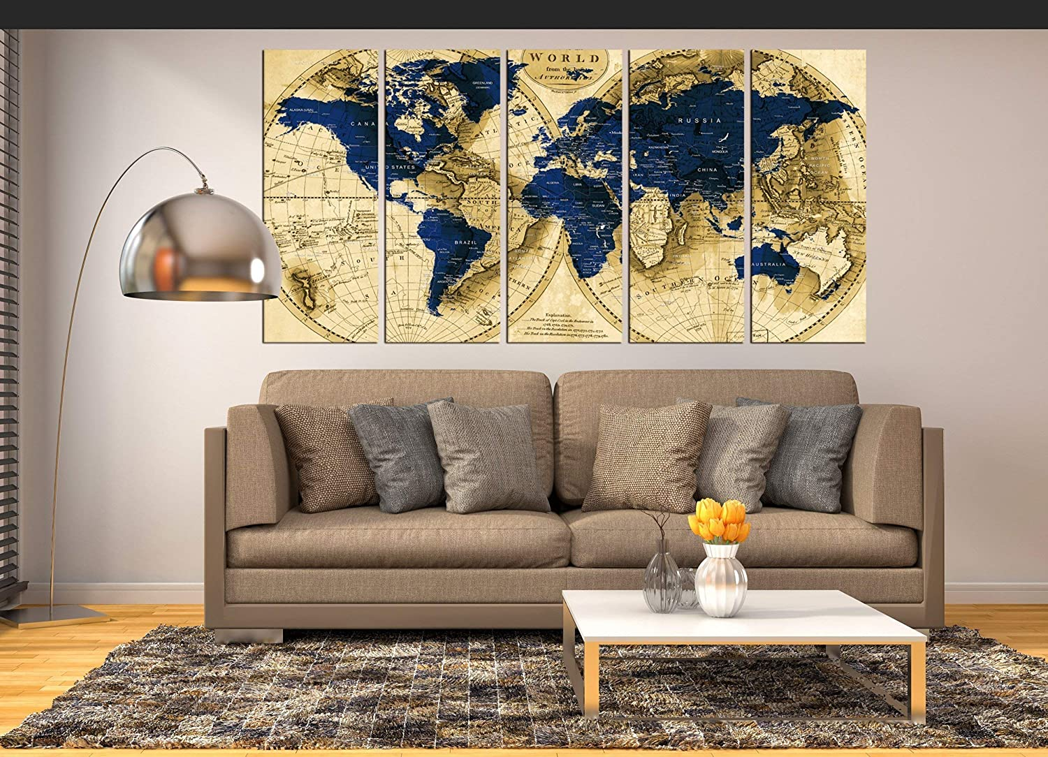 Amazon Com Extra Large Wall Art Navy Blue World Map Canvas Print Push Pin World Map Wall Art Canvas Print Multi Panel 5 Pieces For Dining Room Wall Decal Large Abstract Art World