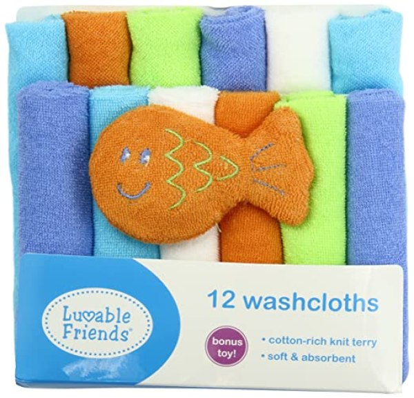 12 Washcloths in Bag with Bonus Toy by Luvable Friends