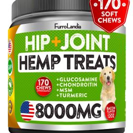 FurroLandia Hemp Hip & Joint Supplement for Dogs – 170 Soft Chews – Made in USA – Glucosamine for Dogs – Chondroitin – MSM – Turmeric – Hemp Seed Oil – Natural Pain Relief & Mobility