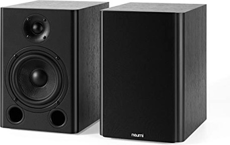 NEUMI BS5 Passive Bookshelf Speakers, 5-Inch Woofer, 1-Inch Tweeter, Dark Wood, 1 Pair