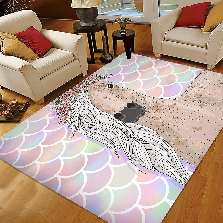 Amazon Com Mermaid Rug Bedroom Rug For Girls Decor 5x7 Large Area Rugs Rainbow Mermaid Scale Flower Horse Kitchen Dining