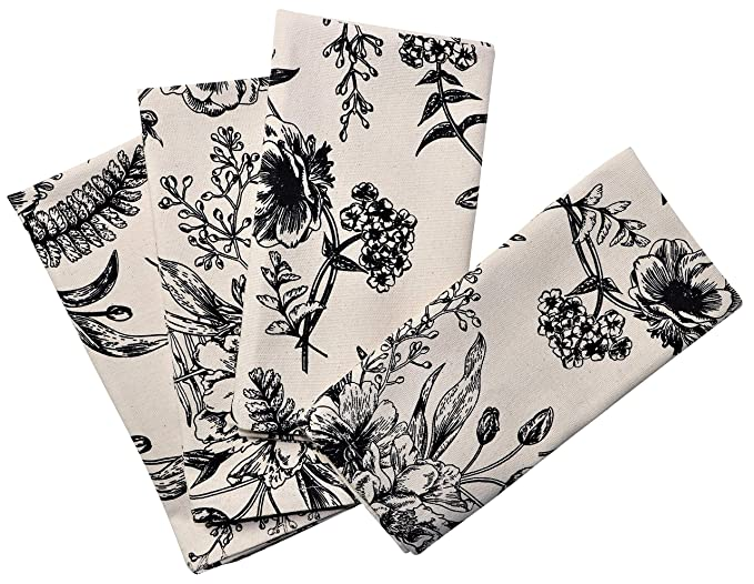 Crabtree Collection Deluxe Cotton Table Linens, Bright Colors for Kitchens and Dining Rooms - (Vintage Floral Napkin Set)