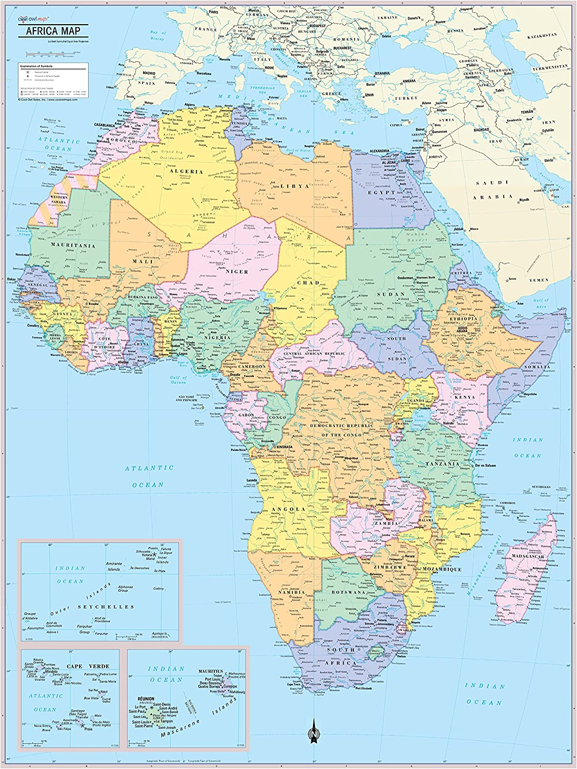 Amazon Com Cool Owl Maps Africa Continent Wall Map Poster Rolled Paper 24 X32 Office Products