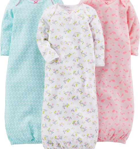 Amazon.com: Simple Joys by Carter's Girls' 3-Pack Cotton Sleeper Gown: Clothing